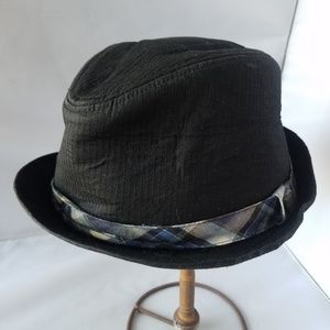 Pamoa Black Fedora Hat Plaid Ribbon Cotton
